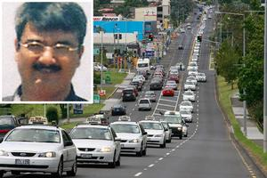 Colleagues of Hiren Mohini (inset) slowed traffic to a crawl as scores of cabs travelled in a convoy to the funeral. Photos / Supplied, Brett Phibbs
