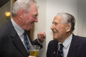 Coaching great Fred Allen (right) shares a laugh with former All Black captain Sir Brian Lochore yesterday. Photo / Paul Estcourt