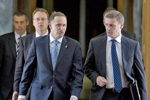 John Key and Finance Minister Bill English yesterday. Photo / Mark Mitchell