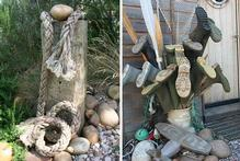 Flotsam and jetsam is turned into garden art (left), and even the family gumboots are arranged with creative flair. Photos / Supplied