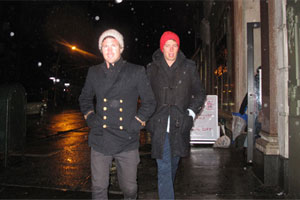 Rugged up and walking in the snow, the boys on the way to Luke's 30th birthday at Freeman's. Photo / Supplied