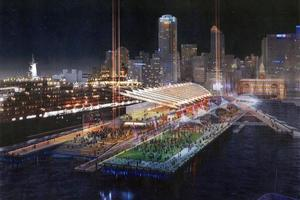 The redesigned facility, one of four options under consideration for Queens Wharf, would provide a cruise-ship terminal and multi-purpose public space.