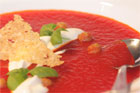 Chilled red bell pepper soup. Photo / Ian Jones