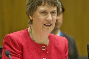 Helen Clark, pictured yesterday at Parliament, believes subjects on radio can be tackled in much more depth when they are not constantly interrupted by advertisements. Photo / Mark Mitchell