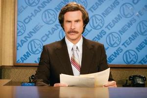FunnyOrDie.com co-creator Will Ferrell as legendary newsreader Ron Burgundy in Anchorman. Photo / Supplied
