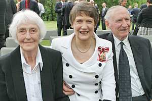 Helen Clark is joined by parents Margaret (L) and George at her investiture ceremony. Photo / Getty Images
