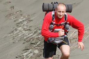 Rob Orchard trains for the Sahara Desert race in Himatangi Beach sand dunes. Photo / Mark Mitchell
