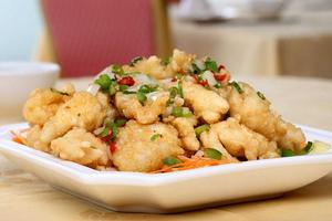 The salted and spicy squid from the Wing Wah Chinese Restaurant in Avondale. Photo / Natalie Slade