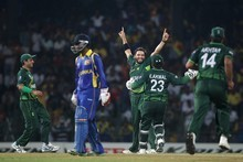 Shahid Afridi of Pakistan celebrates capturing the wicket of Kumur Sangakkara. Photo