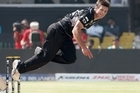 Hamish Bennett bowls to Graeme Cremer during the Black Caps' victory over Zimbabwe. Photo / Getty Images