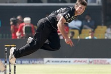 Hamish Bennett bowls to Graeme Cremer during the Black Caps' victory over Zim