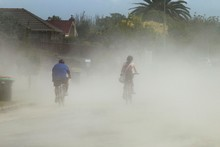 Strong winds are throwing up dust and silt caused by liquefaction. Photo / Brett Phibbs
