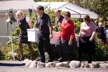 Family and friends gathered to farewell Shane Tomlin on a stunning day at St Pauls on the Hill in Kaikoura, overlooking the ocean. Photo / Dean Purcell.