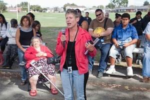 Lianne Dalziel at a public meeting in the Christchurch suburb of Aranui. Photo / John McCombe