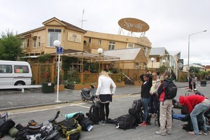 Backpackers were evacuated from the Hotel Stonehurst in Gloucester St after the earthquake. Photo / Geoff Sloan