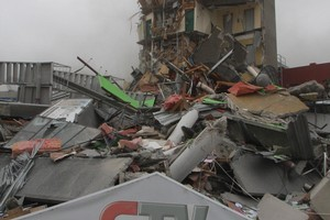 The rubble of the collapsed CTV building. Photo / Geoff Sloan