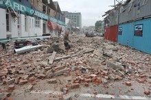 The rubble on Madras Street, Christchurch. Photo / Geoff Sloan