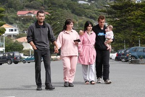 Sumner residents (from left) Joseph and Hannalie Viljoen, with Maruschke and Evert Barnard and daughter Dianthe-Rose, had only minutes to leave their Clifton Hill home when the evacuation order was given. Photo / Mark Mitchell
