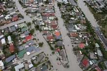 The suburb of Bexley surrounded by water following the earthquake. Photo / Brett Phibbs