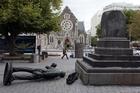 Quake damage to Cathedral Square. Photo / Herald on Sunday