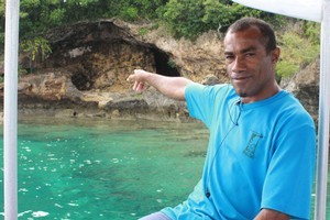 The boatman delivered a shocking titbit about Naigani Island as he cruised past cannibal cave: 'It's where the Fijians used to cook and eat people in the old days' he said. Photo / Jim Eagles