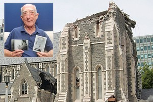 The damaged Christchurch cathedral and, inset, bellringer John Dunn holds photos of his father, Cecil Dunn, who carved some of the church's panels, and his great grandfather, John Dunn, who helped build the church. Photos / NZPA, Sarah Ivey