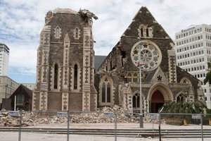 There had been fears as many as 22 people were trapped in Christchurch Cathedral when it was extensively damaged during last week's earthquake. Photo / Mark Mitchell