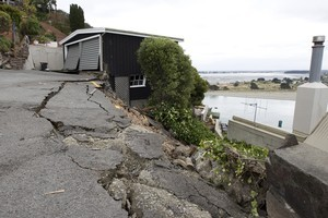 Subsidence as a result of Tuesday's earthquake, on Clifton Terrace. Photo / Mark Mitchell