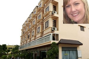 The Downtown Hotel where Sarah Carter (inset) was staying when she fell ill. Photos / Supplied