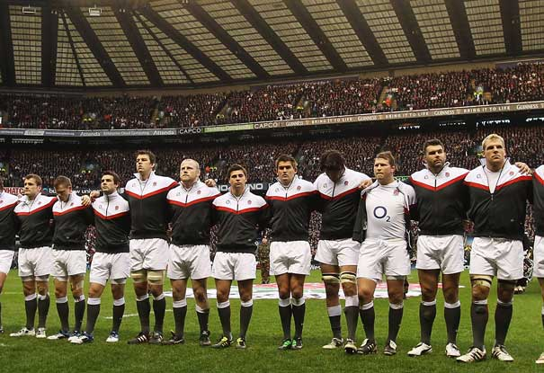 The England team line up for a minutes silence to remember the victims of the Christchurch earthquake ahead of their Six Nations match against France. Photo / Getty Images