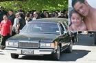 The hearse pulls out after the funeral of earthquake victim Jeff Sanft in Linwood, Christchurch this afternoon. Inset, Jeff and one of his daughters. Photos / Sarah Ivey, supplied
