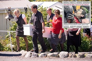 Members of Shane Tomlin's family bring out his coffin after a service at St Paul's on the Hill Church in Kaikoura and inset, Shane's pained face appeared around the world after he was pulled from the rubble. Photos / Dean Purcell, supplied