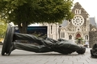 The toppled statue of John Robert Godley. Photo / Mark Mitchell