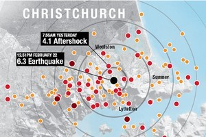 The aftershocks. Graphic / NZ Herald