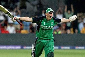 Kevin O'Brien hit the fastest century in World Cup history. Photo / Getty Images