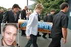 The coffin of earthquake victim Jaime Gilbert, inset, is carried into his funeral at Burnside, Christchurch today. Photos / Brett Phibbs, Supplied