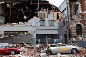 Destruction on Manchester Street in Christchurch. Photo / Brett Phibbs