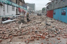 Rubble on Madras Street. Photo / Geoff Sloan 