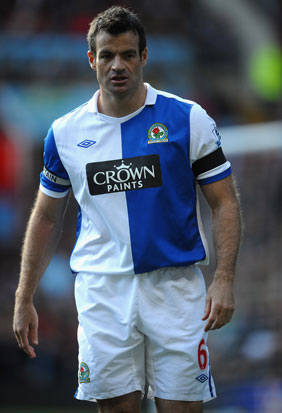 Ryan Nelsen wears a black armband during the Barclays Premier League match between Aston Villa and Blackburn Rovers. Photo / Getty Images