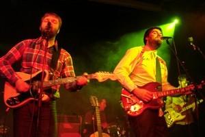 Luke Buda (left) and Sam Scott of The Phoenix Foundation perform at Paradiso in Amsterdam. Photo / Alison Netsel