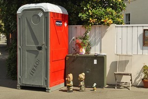 A portaloo decoreated by residents in the suburb of Sumner. Photo / Getty Images
