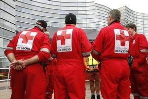 Red Cross workers in Christchurch. Photo / Getty Images