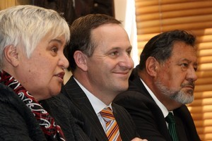 Tariana Turia, John Key and Dr Pita Sharples. Photo / Getty Images