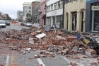 Earthquake damage in Tuam Street between High Street and Madras Street, Christchurch. Photo / Geoff Sloan