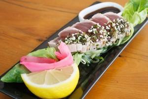 Seared fijian tuna with wasabi furikaki at Bill Fish Cafe. Photo / Steven McNicholl