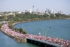 Huge crowds make their way along Tamaki Drive for the Round the Bays fun run in Auckland. Photo / Richard Robinson