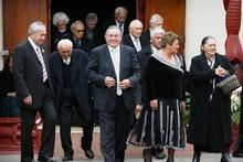 The Maori King Tuheitia Paki and his wife Te Atawhai (centre). Photo / Greg Bowker
