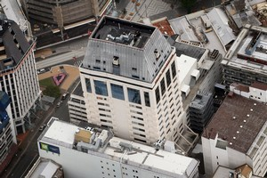 An aerial view The Hotel Grand Chancellor in central Christchurch city. Photo / Sarah Ivey