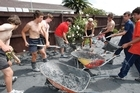 Gumboots were donated to clean-up volunteers. Photo / Brett Phibbs