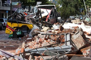 Stuart Routledge was crushed by debris. His wife Lucy died later in hospital. Photo / Simon Baker